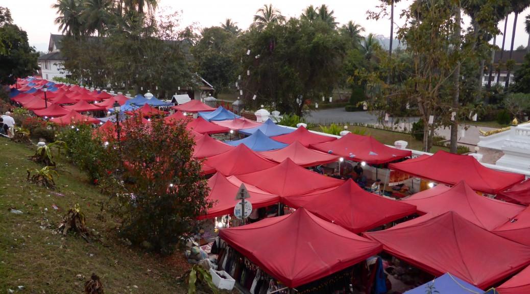 The night market in Luang Prabang, Laos. Similar to the night market in Vientiane.