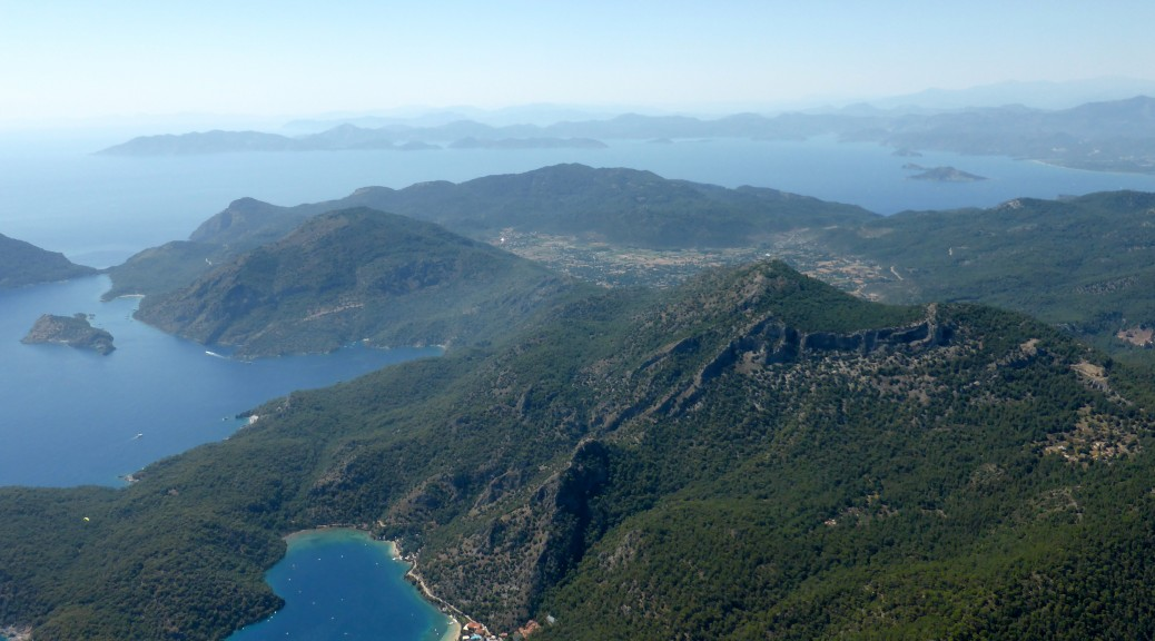 The view paragliding over Ölüdeniz and The Blue Lagoon, Turkey